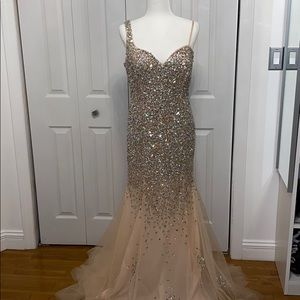 Embellished Illusion Sheath Prom Dress